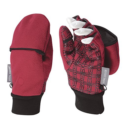 Fleece Glove Mitt - Vital Salveo- Outdoor 3WARM Unisex Half Finger Gloves Windproof Non Slip Fingerless Fleece Gloves (Wind Red, Medium)