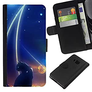 Abstract Black Cat Night Space Dark - la tarjeta de Crédito Slots PU Funda de cuero Monedero caso cubierta de piel HTC One M7