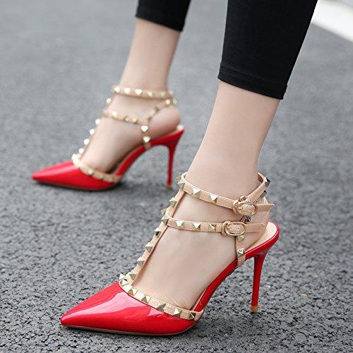 Minces Avec Femmes Shoeshaoge L'high Rivets Shoes Fille 18 De Bien Eu35 Pour Vis heel Chaussures Yoo Fine Effilée Sandales Les Pointe w6xrIxd