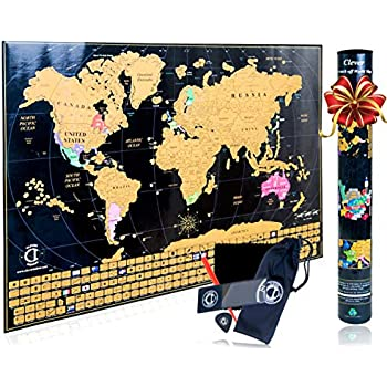 Scratch Off Map of The World Poster - Travel Map Tracker with US States on