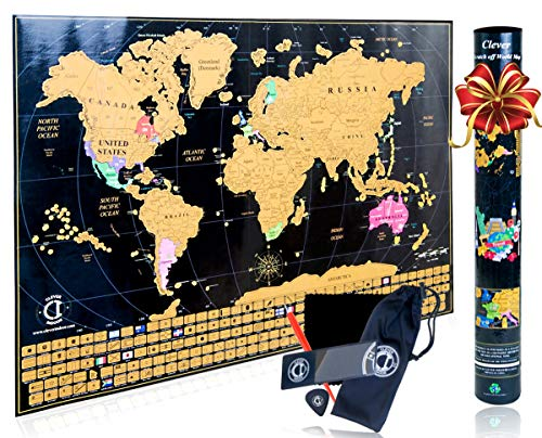 (Scratch Off Map of The World Poster - Travel Map Tracker with US States Outlined and Country Flags, Bright and Vibrant Colors. Perfect Gift for Travelers. Includes Scratcher Tools. by Clever Indoor.)