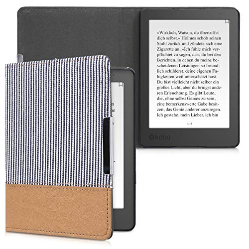 kwmobile Case Compatible with Kobo Aura Edition 2 - PU Leather/Canvas Cover - Stripes Blue/White