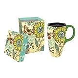 Glass Home Gardens Best Deals - Nature's Garden Butterfly And Flowers Ceramic Latte Travel Mug