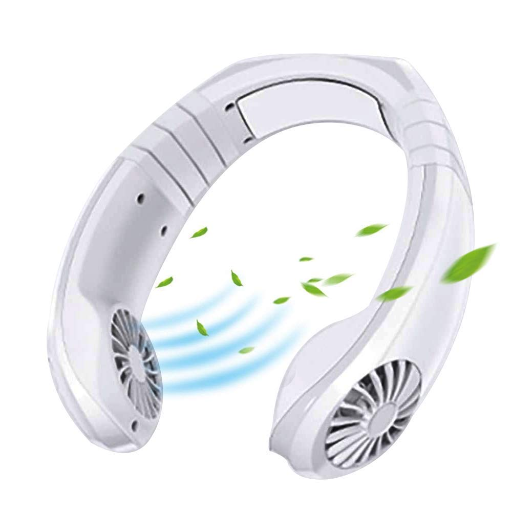 Hanging Neck Fan, Air Cooler USB Micro Portable 2 in 1 Air Cooler Mini Electric Air Conditioner Scarf Cooling Portable Hanging Neck Fan,Air Cooler, USB Hanging Neck Air Conditioner (White)