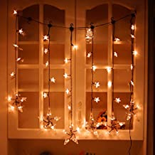 Lychee Star Curtain Lights Super star Curtain String Lights 60 Stars Window Icicle Lights Perfect Decoration for Wedding, Christmas, Holiday, Parties Backdrops and Home (Warm White)