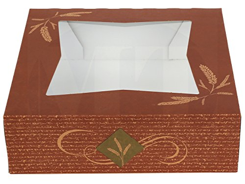 8'' Length x 8'' Width x 2 1/2'' Height Kraft Paperboard Auto-Popup Window Pie/Bakery Box with Design by MT Products (Pack of 15) by MT Products