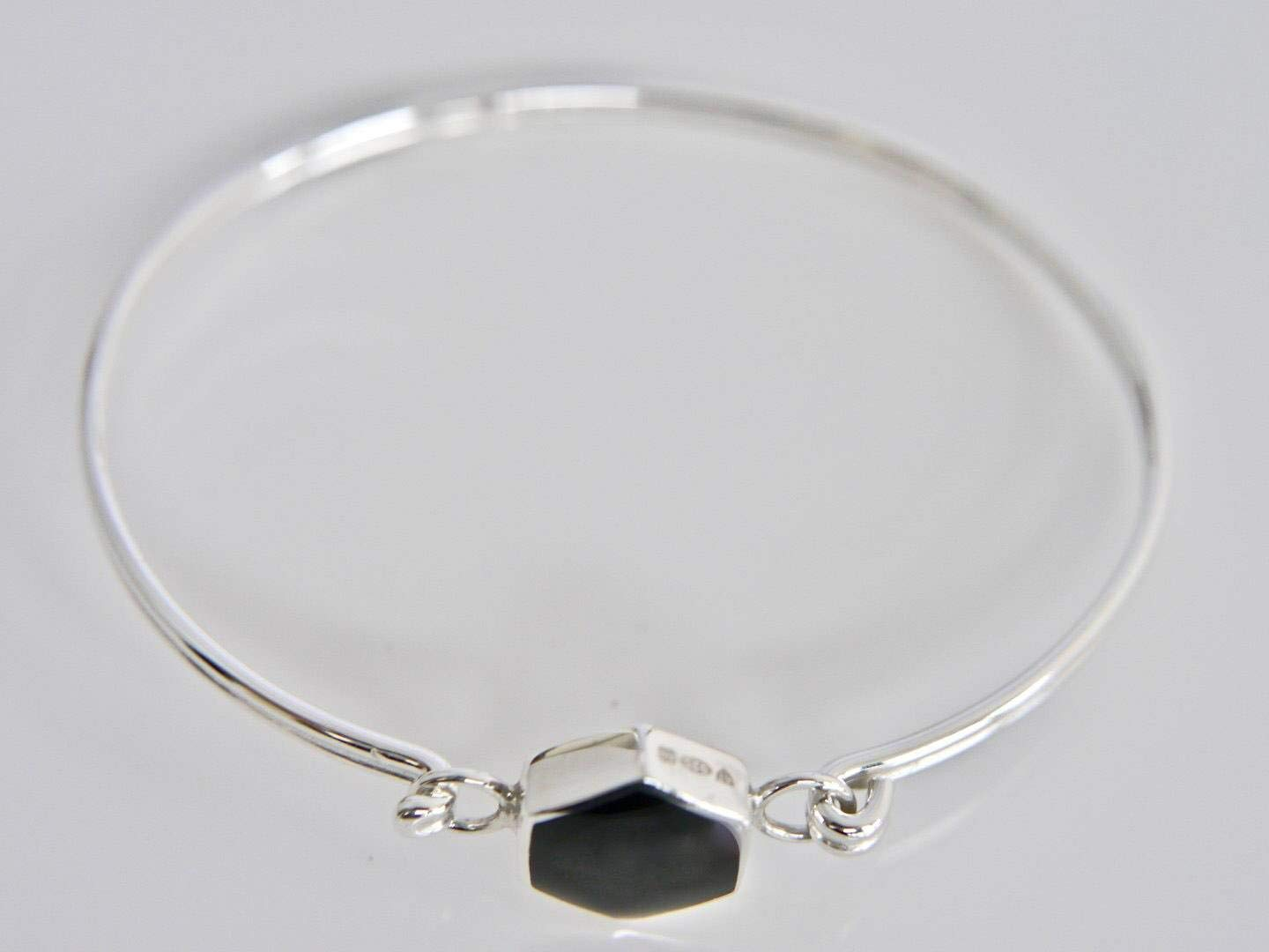Whitby Jet Bangle- Handmade Tension Bangle set with Oval Whitby Jet Stone Silver Bangle Sterling Silver