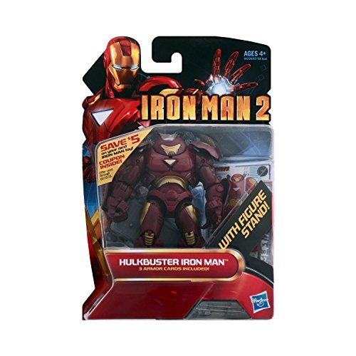 Iron Man 2 Movie Series 4 Inch Tall Action Figure Set #27 - HULKBUSTER IRON MAN with Figure Display Stand Plus 3 Armor Cards -