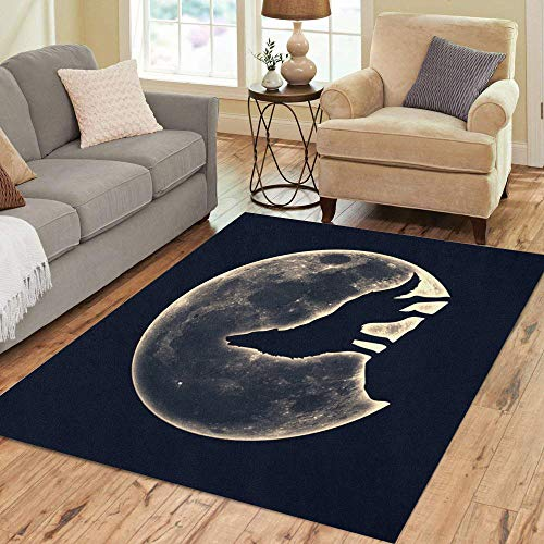 Semtomn Area Rug 5' X 7' Wicca Howling Wolf Full Moon Werewolf Native Silhouette Magic Home Decor Collection Floor Rugs Carpet for Living Room Bedroom Dining Room -
