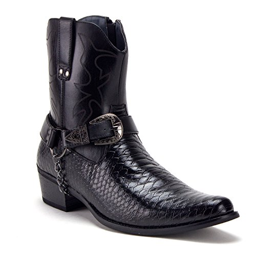 Jazame Men's Western Ankle High Cowboy Motorcycle Riding Pointy Toe Moto Dress Boots