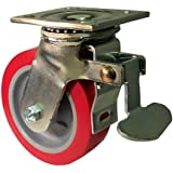 "E.R. Wagner Plate Caster, Swivel with Total-Lock Brake, Polyurethane on Polyolefin Wheel, Roller Bearing, 750 lbs Capacity, 5"" Wheel Dia, 2"" Wheel Width, 6-1/2"" Mount Height, 4-1/2"" Plate Length, 4"" Plate Width"