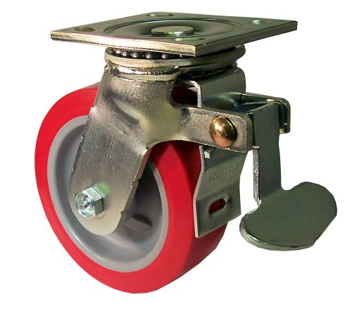 E.R. Wagner Plate Caster, Swivel with Total-Lock Brake, Polyurethane on Polyolefin Wheel, Roller Bearing, 750 lbs Capacity, 5