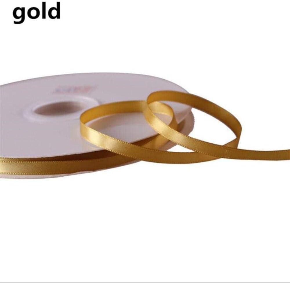 100 yardas/rollo 1 cm de una sola cara de cinta de raso banquete de boda decoración bricolaje embalaje de regalo cintas, oro, 10 mm