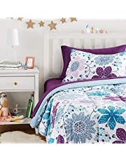 AmazonBasics Easy-Wash Microfiber Kid's Bed-in-a-Bag Bedding Set - Twin, Purple Flowers