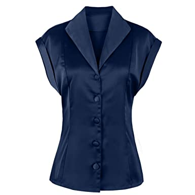 1499b2cc09ab ZAFUL Women s Elegant Silk Shirt Satin Monochrome Plain Evening Shirt  Button Vintage Top (Navy Blue