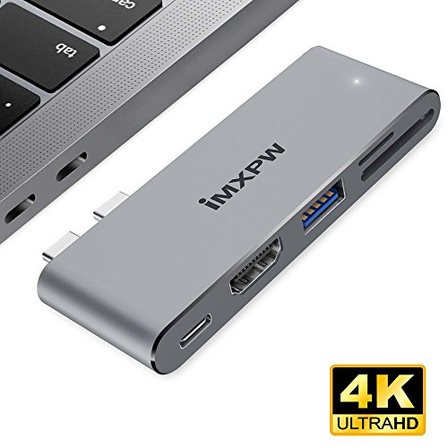 iMXPW USB-C Multiport Adapter, USB Type-C Hub with HDMI Output for New MacBook Pro, Thunderbolt 3 Hub with Pass-through Charge Port, 4K HDMI, USB 3.0 Port, SD/Micro SD Card Reader 5 in 1-Space Gray by iMXPW