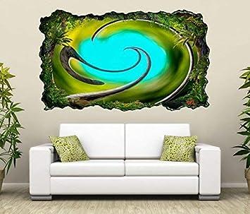 3d Wandtattoo 3d Effekt Spirale Abstrakte Kunst Malerei Blau Grün