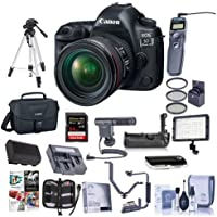 Canon EOS-5D Mark IV Digital SLR Camera Body Kit with EF 24-70mm f/4L IS Lens - Bundle with 64GB U3 SDXC Card, Camera Case, Tripod, Spare Battery, Battery Grip, Video Light, Shotgun Mic and More