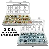 2 Assortments - Inch & Metric Grade 8 & 10.9 Hex Nuts, SAE Flat & Split Lock Washers - 702PCS!