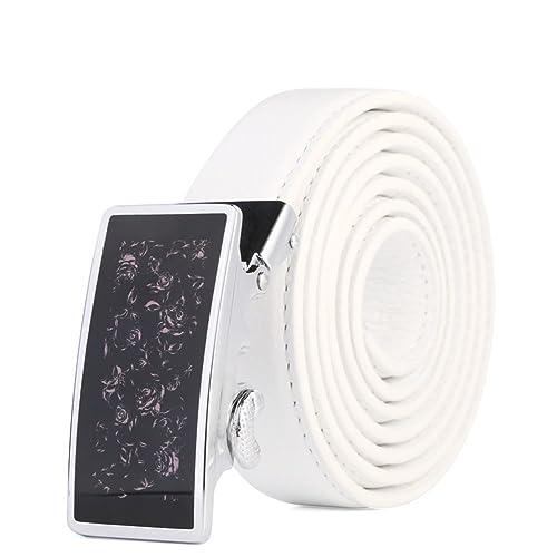 Cinghia delle signore Cintura con fibbia automatica Cintura casual-bianca