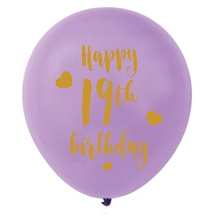 Purple 19th Birthday Latex Balloons 12inch 16pcs Girl Gold Happy Party