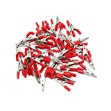 uxcell 50pcs Red Plastic Coated Car Battery Insulated Test Clamps Alligator Clips