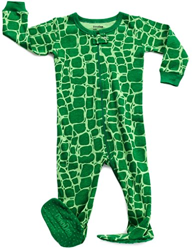 DinoDee Footed Sleeper Pajama 100% Cotton (18-24 Months, Green Croc)