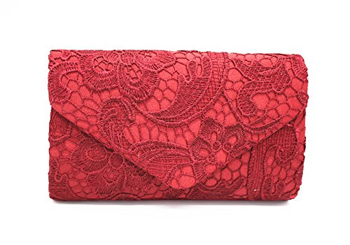 Evening Red Shape Party Clutch Shoulder Bag QSEVEN by Wine HandBags Lace Envelope Girly Woman ZXB1yq