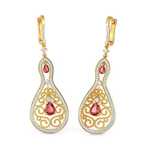 14K Or jaune 1.19carat au total White-diamond (IJ | SI) et rubis Boucles d'oreille