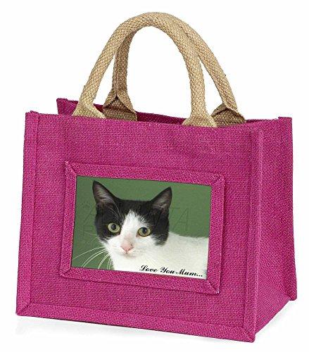 Advanta ac-53lymbmp schwarz plus weiß Cat Love You Mum Little Mädchen Einkaufstasche Weihnachten Geschenk, Jute, pink, 25,5x 21x 2cm