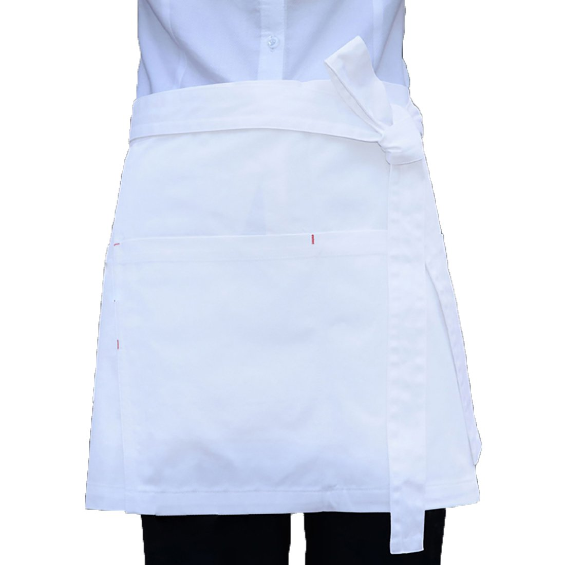 LissomPlume Unisex Women Men Kitchen Short Half Waist Apron Restaurant Bistro 75X40cm Black