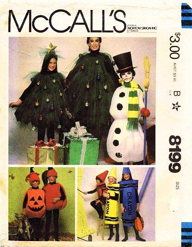 McCalls 8199 Child Size 2-4 Christmas Tree, Snowman Crayon and Jack-o-Lantern Costume Sewing (Snowman Costume Pattern)