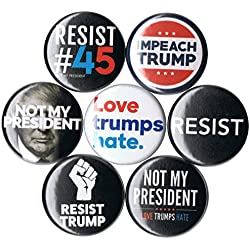 "Set of 7 Love Trumps Hate 1"" Button/Pins"