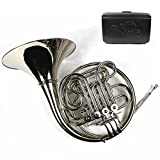 Monel Rotors Bb/F 4 Keys Double French Horn w/Case & Mouthpiece-Nickel Plated Finish