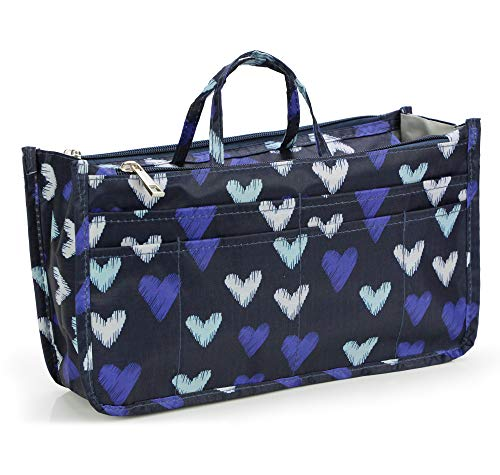 Cosmetic Bag for Women Cute Printing 14 Pockets Expandable Makeup Organizer Purse with Handles (Large Heart)