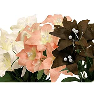 BalsaCircle 70 Silk Tiger Lilies - 10 Bushes - Artificial Flowers Wedding Party Centerpieces Arrangements Bouquets Supplies 39