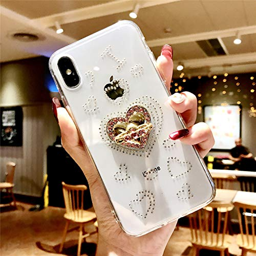 iPhone 8 Plus Case with Ring, iPhone 7 Plus Case, DMaos Embed Diamond Design for Women, Soft TPU Crystal Clear Slim Cover with Rhinestone Kickstand, Premium for iPhone 7+/8+ 5.5 Inch (Heart)