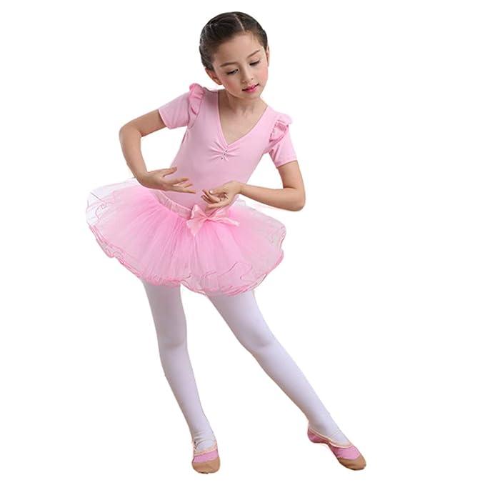 Vestido Maillot de Ballet Danza para Niña Manga Larga Top y Tutu ...