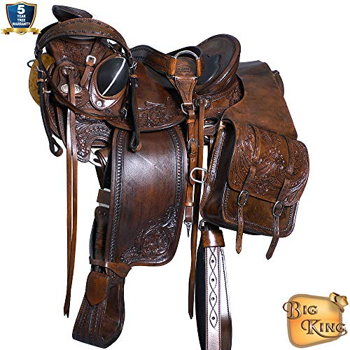 HILASON 16″ Western Horse Saddle Leather Wade Ranch Roping Mahogany