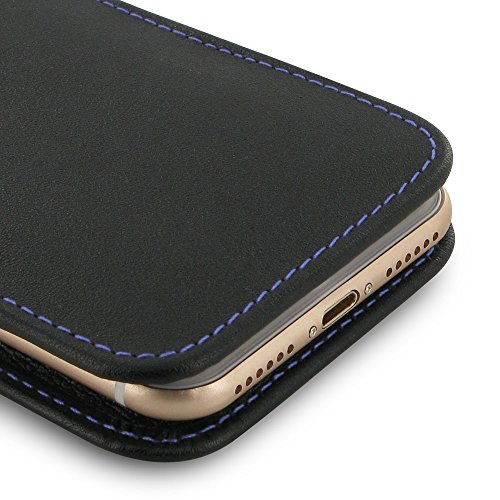 Apple iPhone 7 Case, Leather Case, Pouch, Holster, Wallet Case, Protective Case, Phone Case - Vertical Pouch Case WITHOUT Belt Clips (Black/Purple Stitch) by Pdair