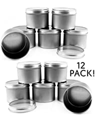 4-Ounce Round Metal Tins w/ View Window Lids (12-Pack); Silver Tins w/ Clear Lids