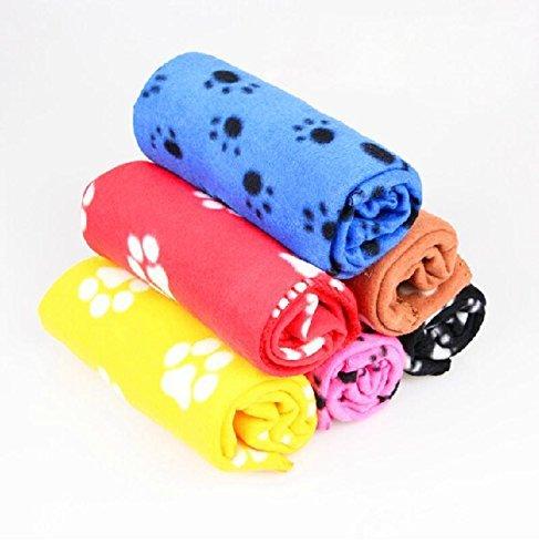 Pecute  Soft Warm Pet Puppy Dog Cat Paw Print Fleece Blanket Mat Pad Bed Cover, Random