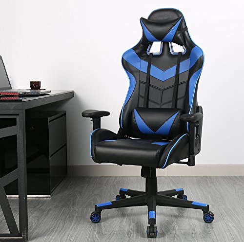 51OUyUoBe8L - Zenith High Back PU Leather Swivel Gaming Chair with Adjustable Armrest Lumbar Support Headrest Racing Office Chair