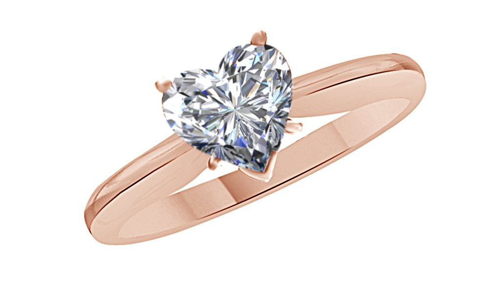 Jewel Zone US Heart Cut White Cubic Zirconia Anniversary Solitaire Ring in 14k Rose Gold Over Sterling Silver (2 Carat)