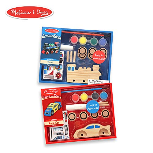 Melissa & Doug Decorate-Your-Own Wooden Train and Race Car Craft Kits, Set of 2 ()