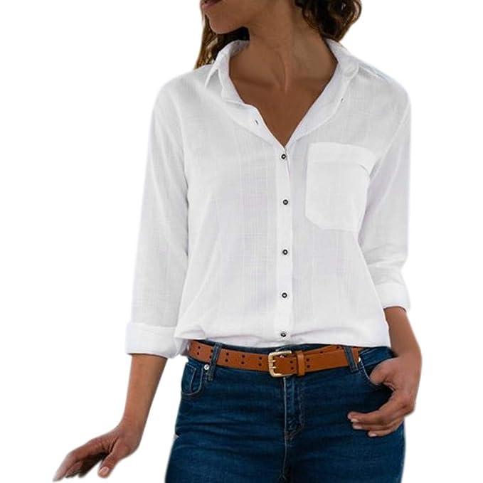 132500fc47f81 Lenfesh Camisa de Manga Larga con Bolsillo Elegante Camisa Blanca Blusa con  Botones en Color sólido para Mujer  Amazon.es  Ropa y accesorios