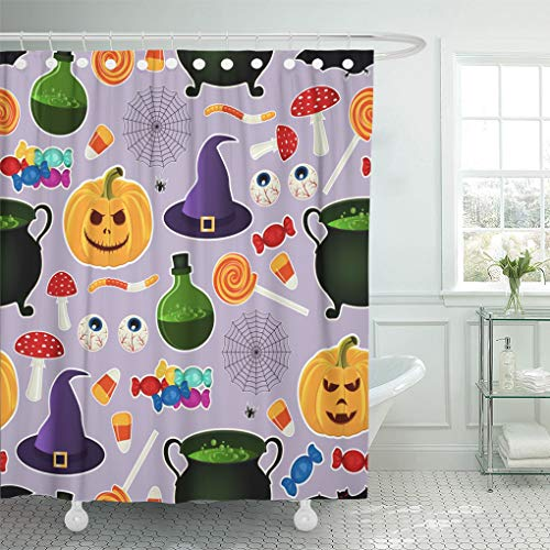 Emvency Shower Curtain Related Halloween Holiday Object Silhouettes on Purple Traditional Witches Shower Curtains Sets with Hooks 72 x 78 Inches Waterproof Polyester -