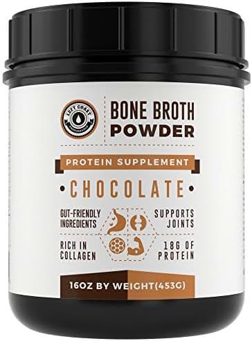 Bone Broth Protein Powder Chocolate 16Oz, Grass Fed - Non-GMO, Gut-Friendly, Dairy Free Protein Powder, Left Coast Performance