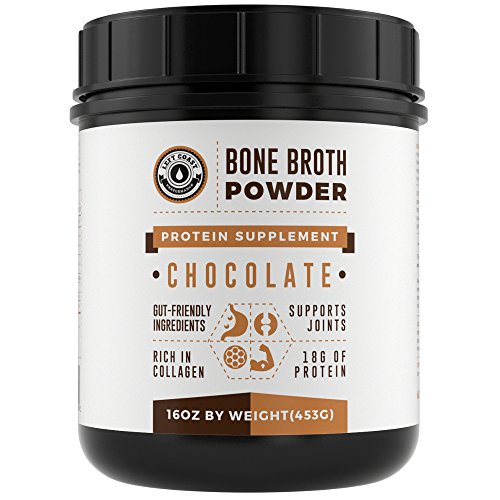 Bone Broth Protein Powder Chocolate 16Oz, Grass Fed - Non-GMO, Gut-Friendly, Dairy Free Protein Powder, Left Coast (Non Dairy Products)
