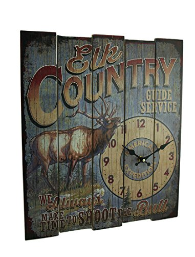 American Expedition Elk Country Guide SVC Wooden Clock, Large, Multicolor
